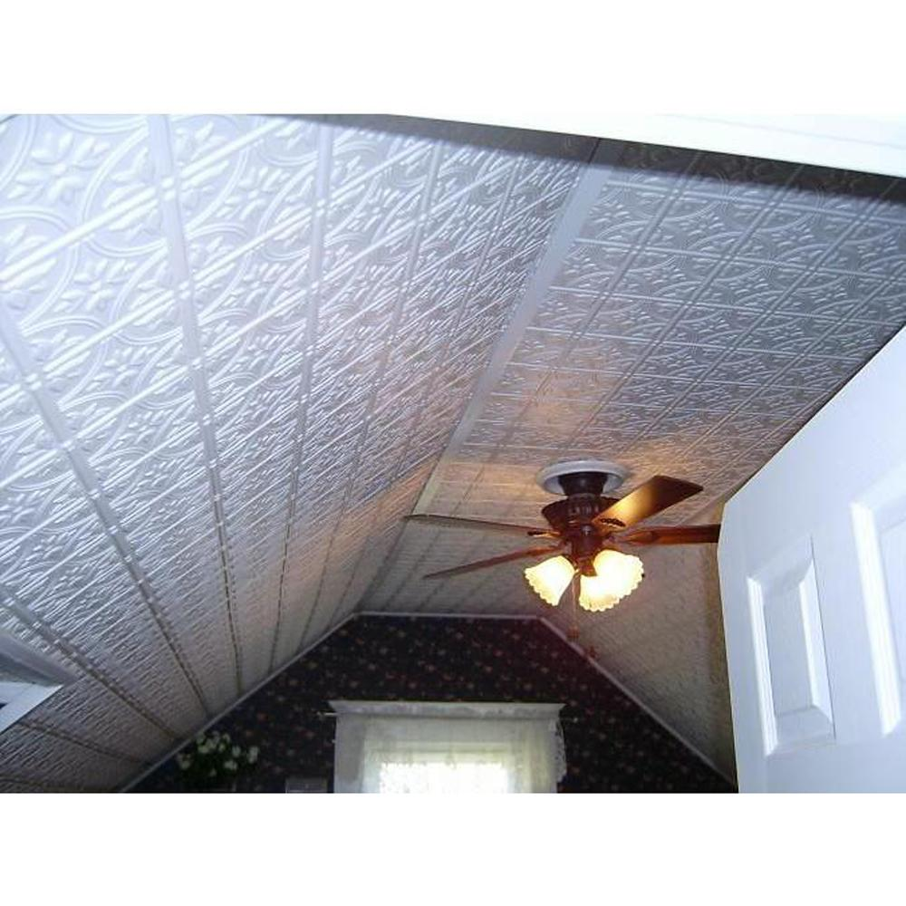 global specialty products dimensions faux 2 ft x 4 ft tin style ceiling and wall tiles in white209 the home depot