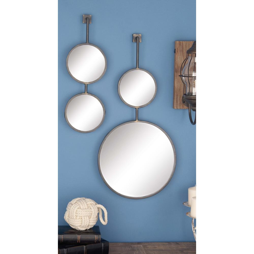 Litton Lane 4 Piece Modern Suspended Metal Wall Mirror Set