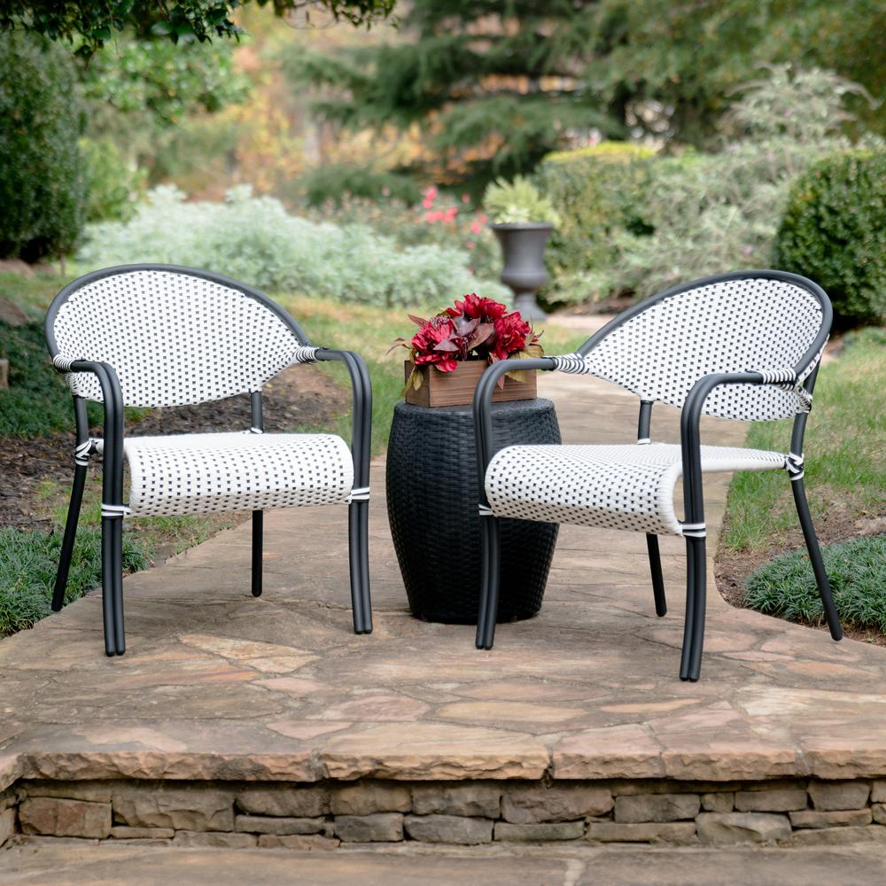 Monticello 3 Piece Black And White Wicker Outdoor Bistro Set