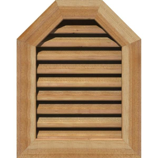 Ekena Millwork 41 X 19 Octagon Unfinished Rough Sawn Western Red Cedar Wood Gable Louver Vent Functional Gvwot36x1400rfuwr The Home Depot