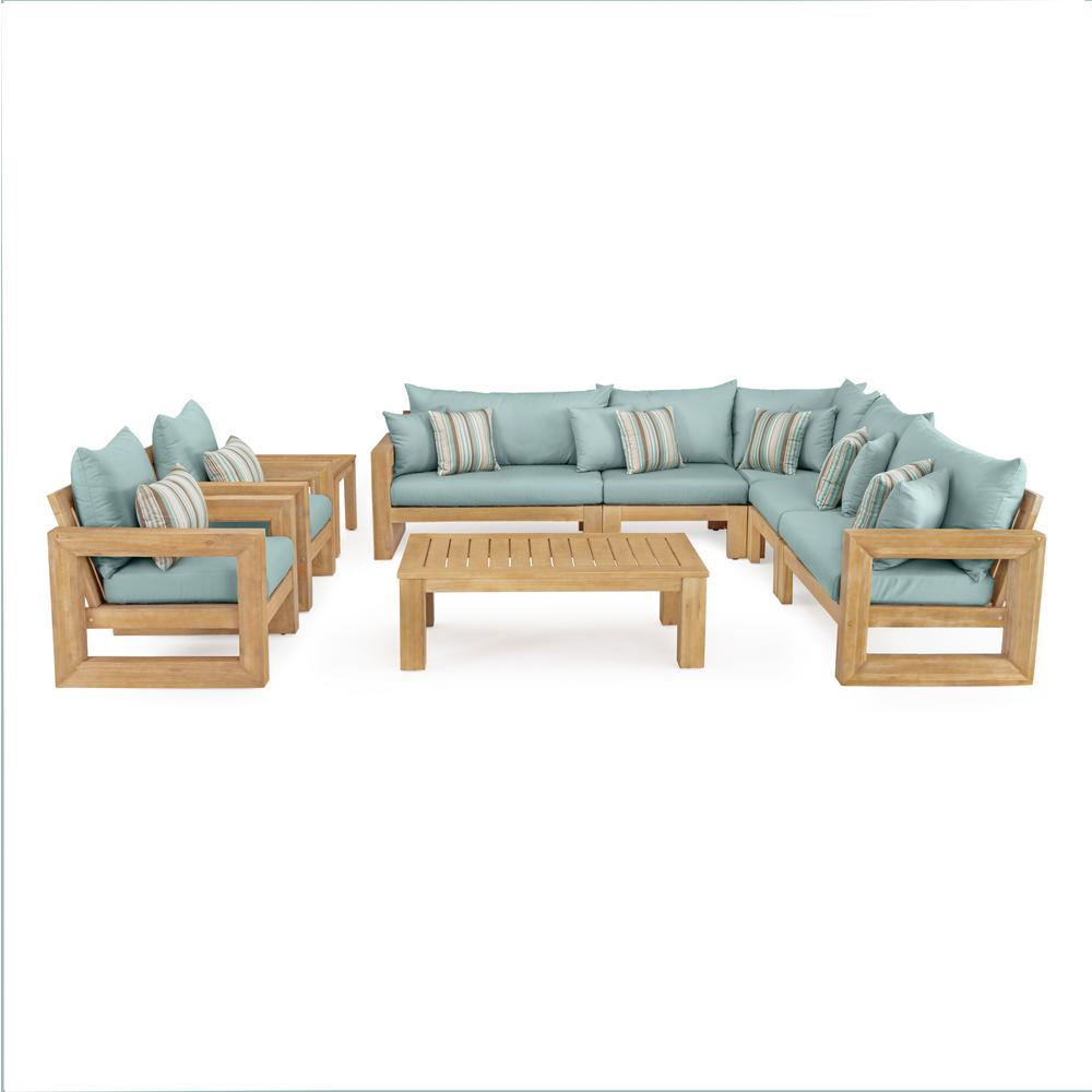Benson 9 Piece Wood Patio Sectional Seating Set With Bliss Blue Cushions