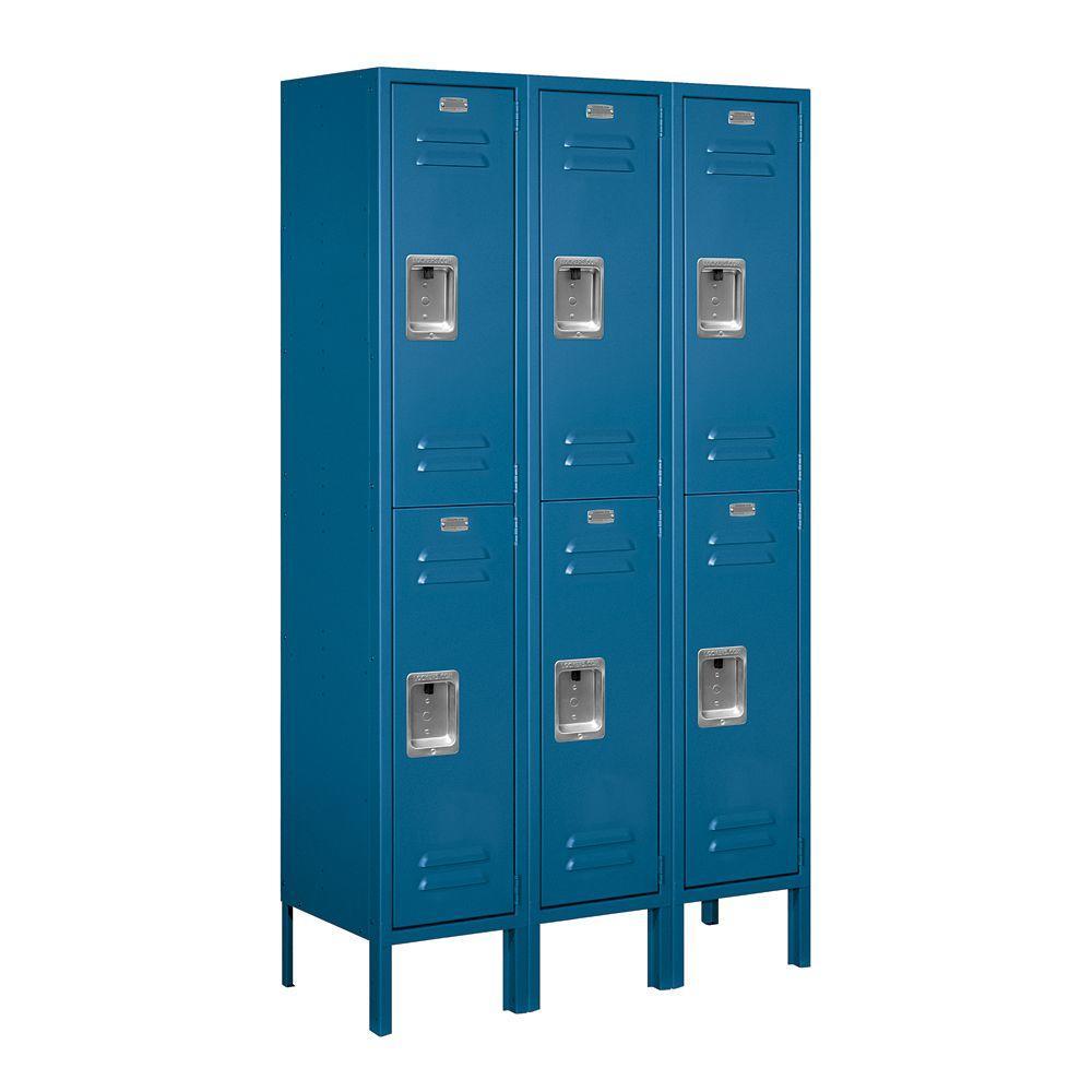 62000 Series 36 in. W x 66 in. H x 12 in. D 2-Tier Metal Locker Unassembled in Blue