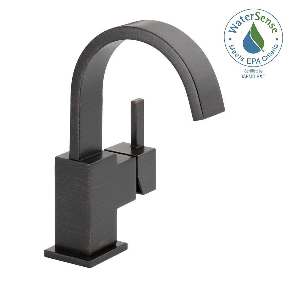 Delta Vero Single Hole Single-Handle Bathroom Faucet with Metal Drain Assembly in Venetian Bronze