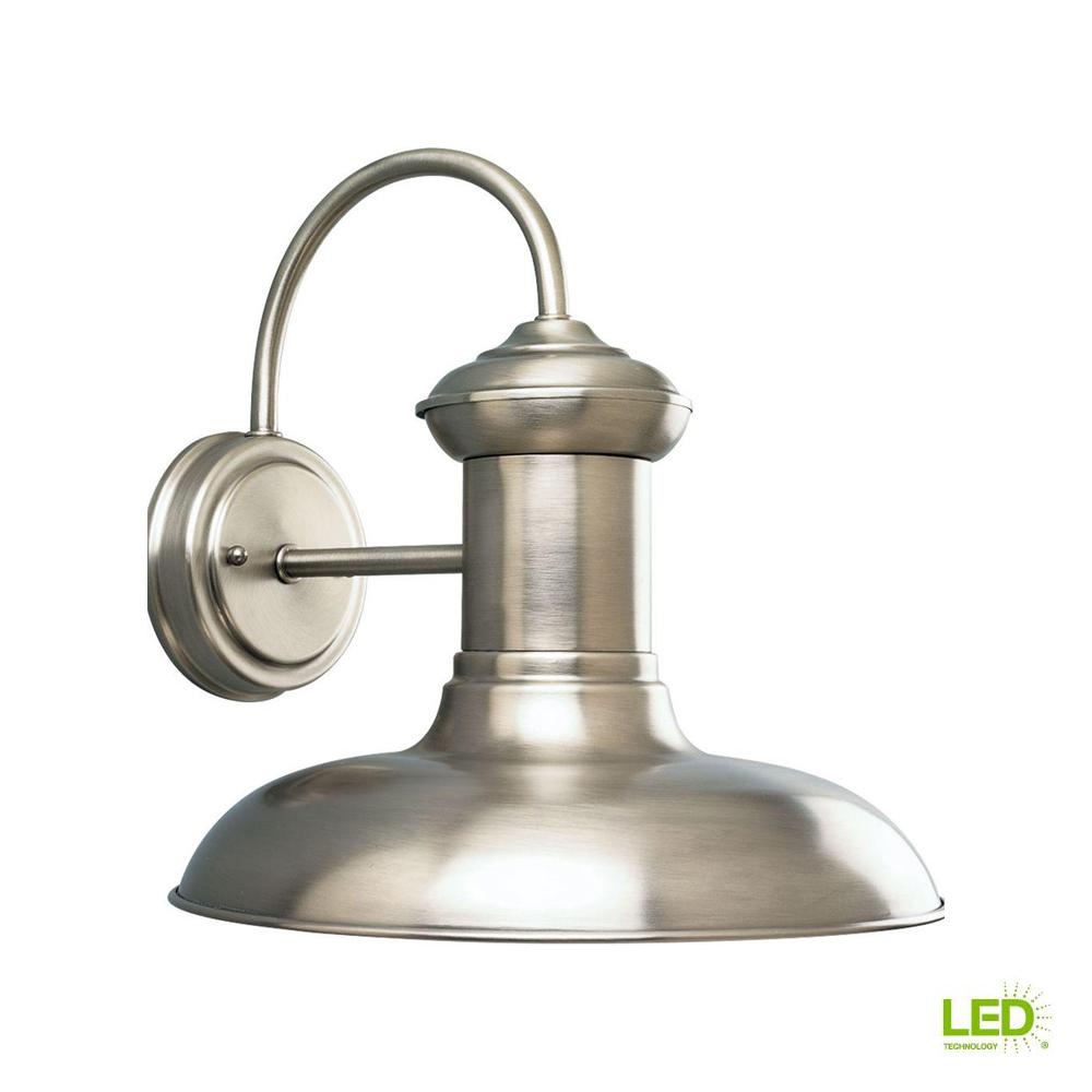 Progress Lighting Brookside Collection 1-Light Antique Nickel LED 12.25 in. Outdoor Wall Lantern