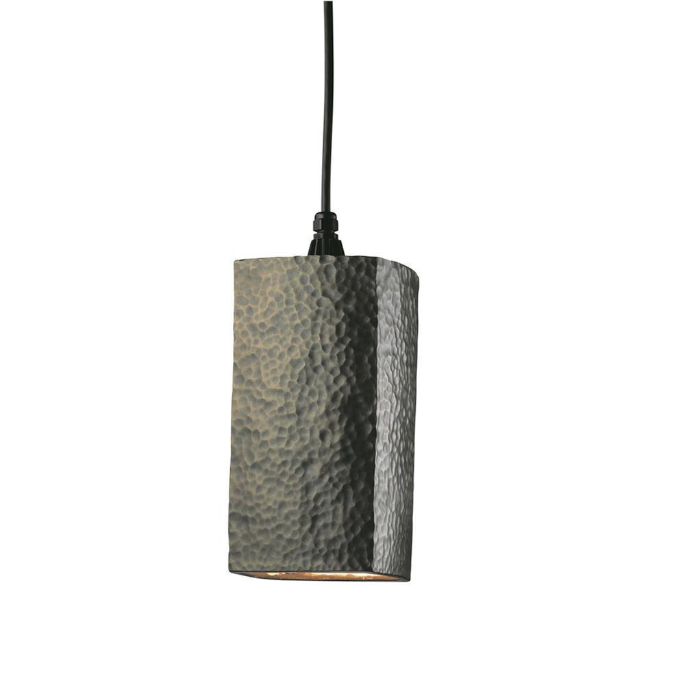 Radiance 1 Light Rectangle Hammered Polished Br Pendant