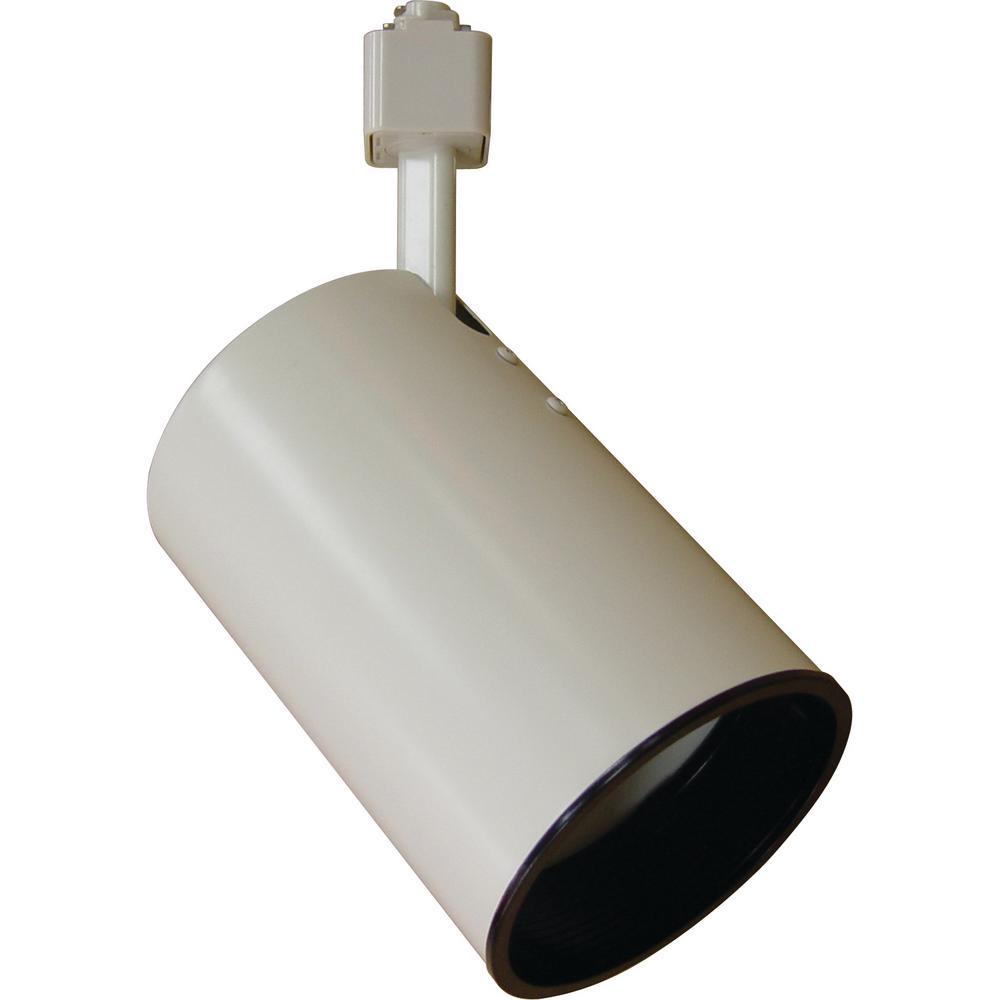 1-Light White Adjustable Small Flat Back Cylinder Track Lighting Head