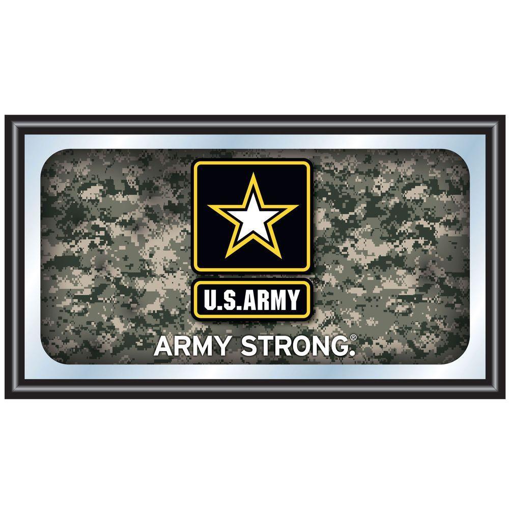 US Army Digital Camo 15 in. x 26 in. Black Wood Framed Mirror