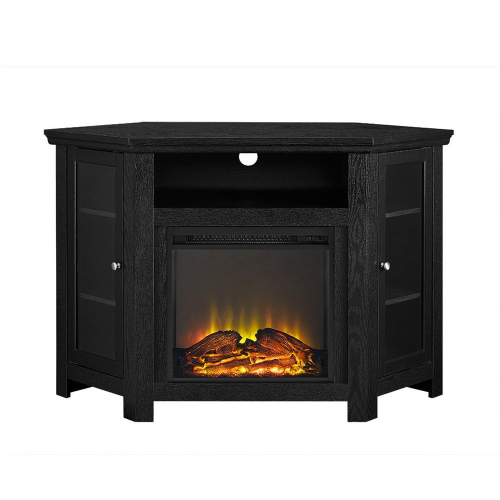 Walker Edison Furniture Company Black Fire Place Entertainment Center HD48FPCRBL