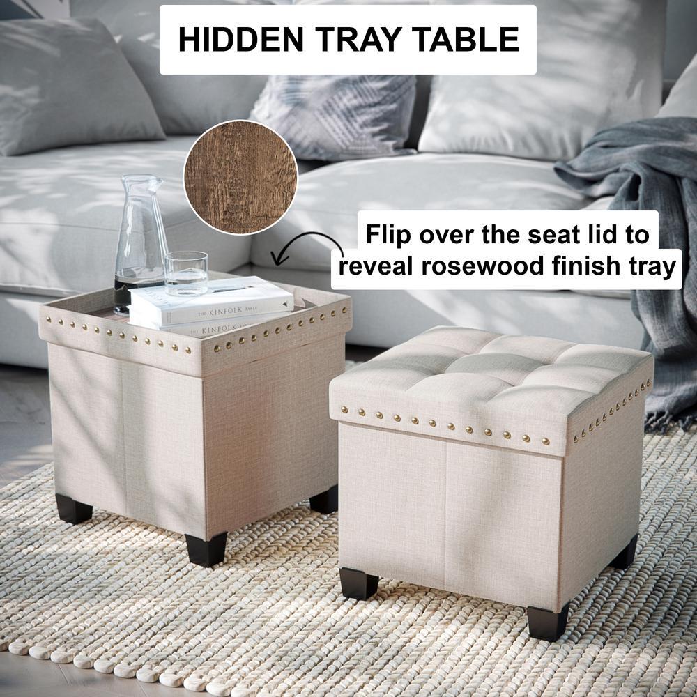 Swell Nathan James Payton Beige Upholstered Foldable Storage Ibusinesslaw Wood Chair Design Ideas Ibusinesslaworg