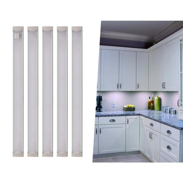 9 in. LED Cool White 4000K, Dimmable, 5-Bar Under Cabinet Lights Kit with Hands-Free On/Off (Tool-Free Plug-in Install)