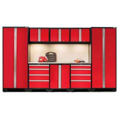 Bold 3.0 77 in. H x 132 in. W x 18 in. D 24-Gauge Welded Steel Stainless Steel Worktop Cabinet Set in Red (9-Piece)