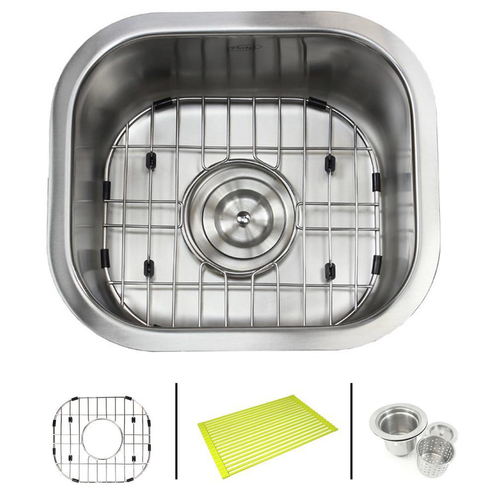 Undermount 18-Gauge Stainless Steel 13 in. x 14-5/8 in. x 7 in. Single Bowl Kitchen / Bar Sink Combo