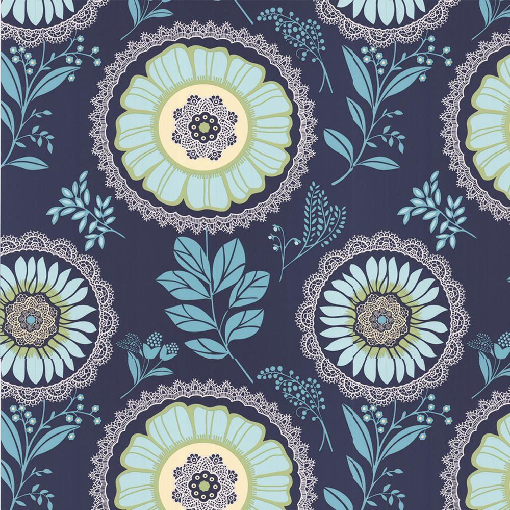Graham & Brown 56 sq. ft. Lacework Navy Blue Wallpaper-DISCONTINUED