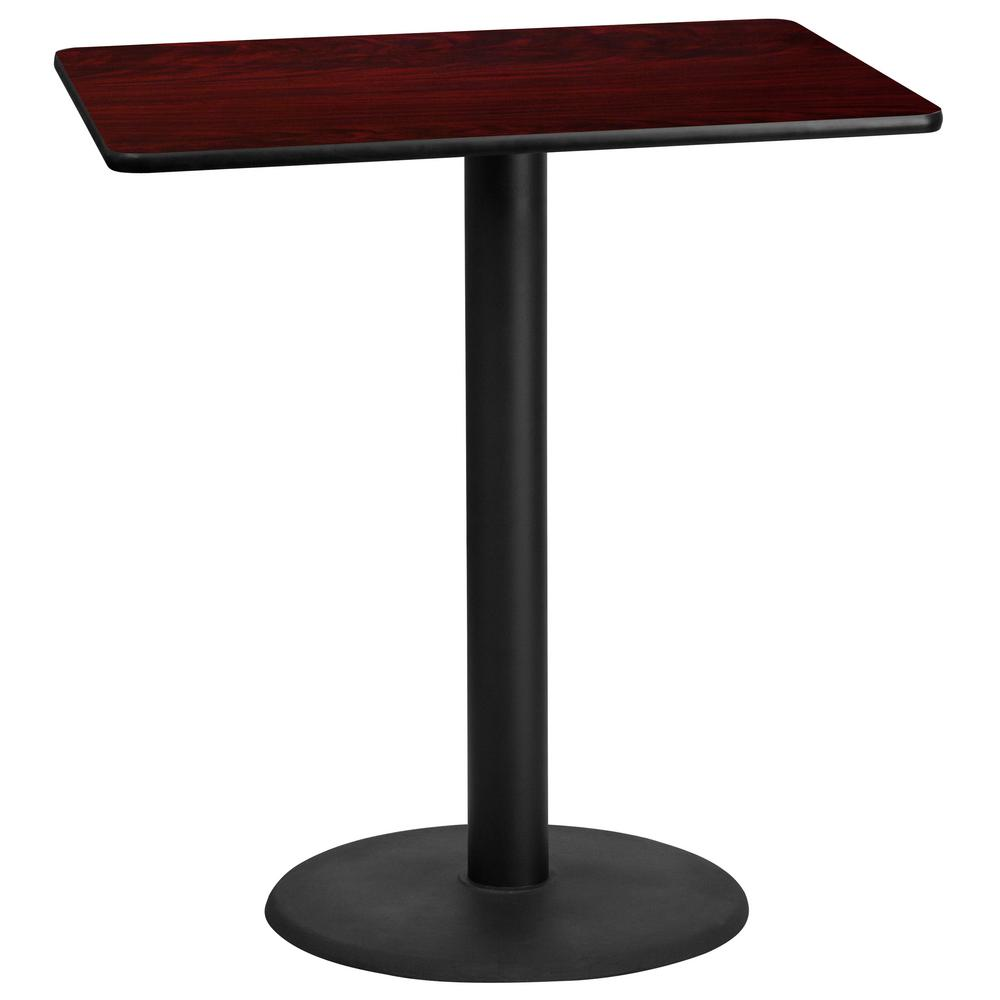 30 in. x 42 in. Rectangular Black and Mahogany Laminate Table