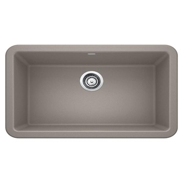 IKON Farmhouse Apron-Front Granite Composite 33 in. Single Bowl Kitchen Sink in Truffle