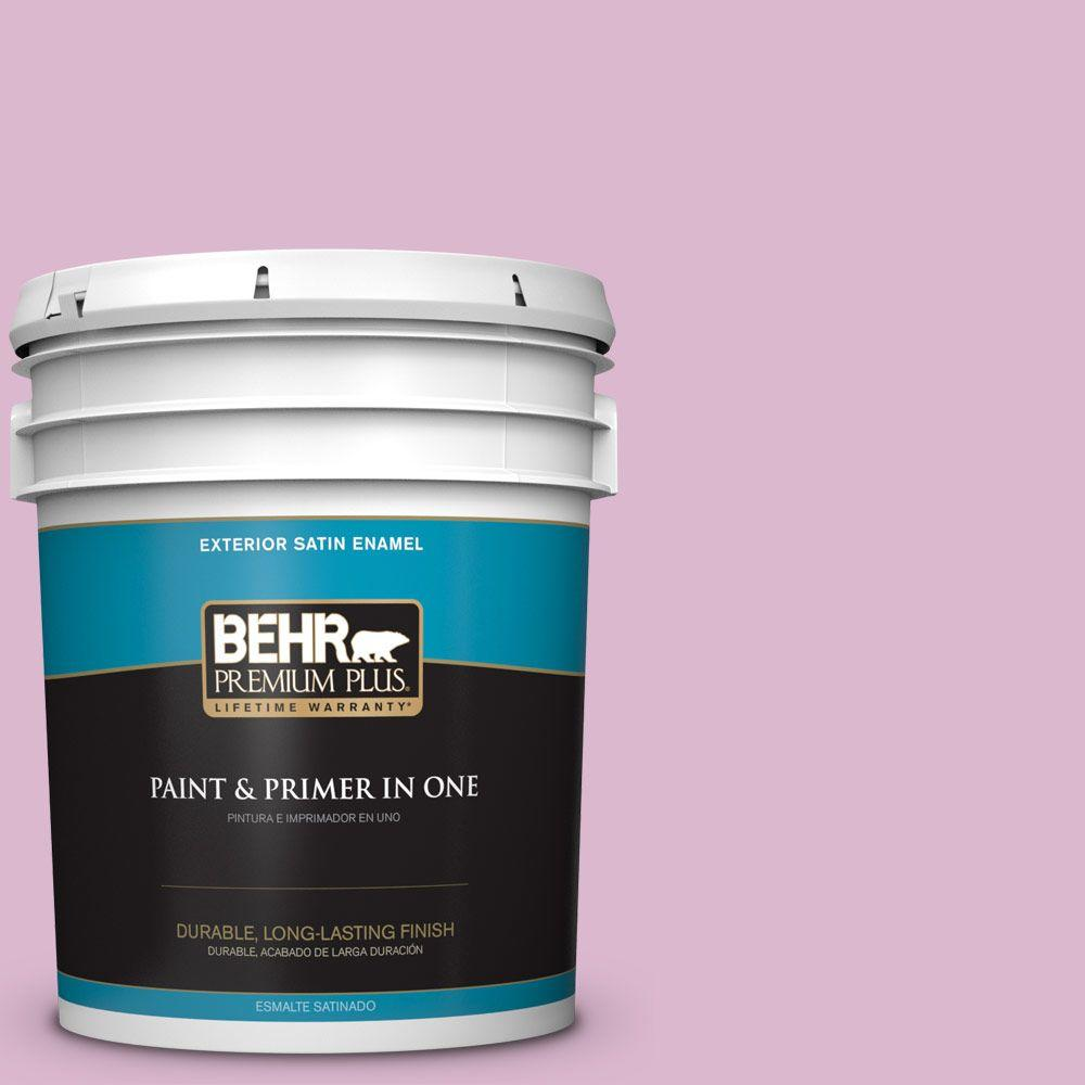 BEHR Premium Plus 5-gal. #M120-3 Pink Wink Satin Enamel Exterior Paint