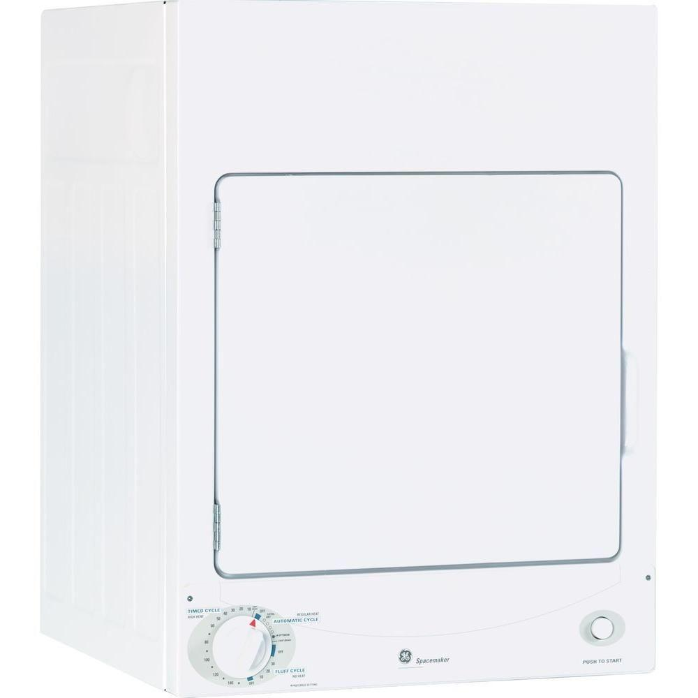 GE 3.6 cu. ft. 120-Volt White Stackable Electric Vented Stationary Compact Dryer