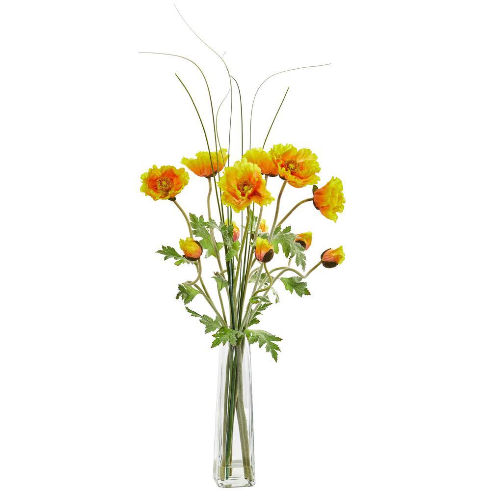 Indoor Poppy and Grass Artificial Arrangement