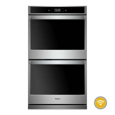 27 in. Smart Double Electric Wall Oven with True Convection Cooking in Black on Stainless Steel