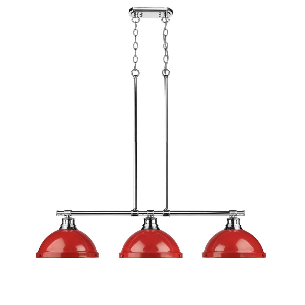Duncan 3 Light Chrome Pendant With Red Shade