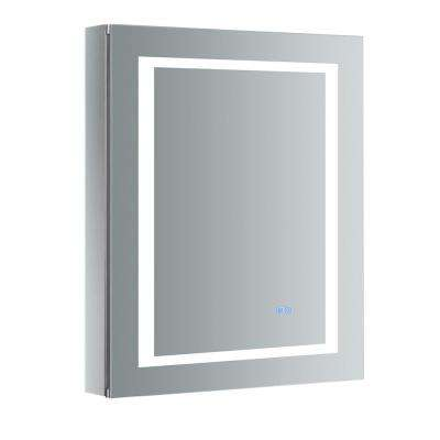 Spazio 24 in. W x 30 in. H Recessed or Surface Mount Medicine Cabinet with LED Lighting, Mirror Defogger and Left Hinge