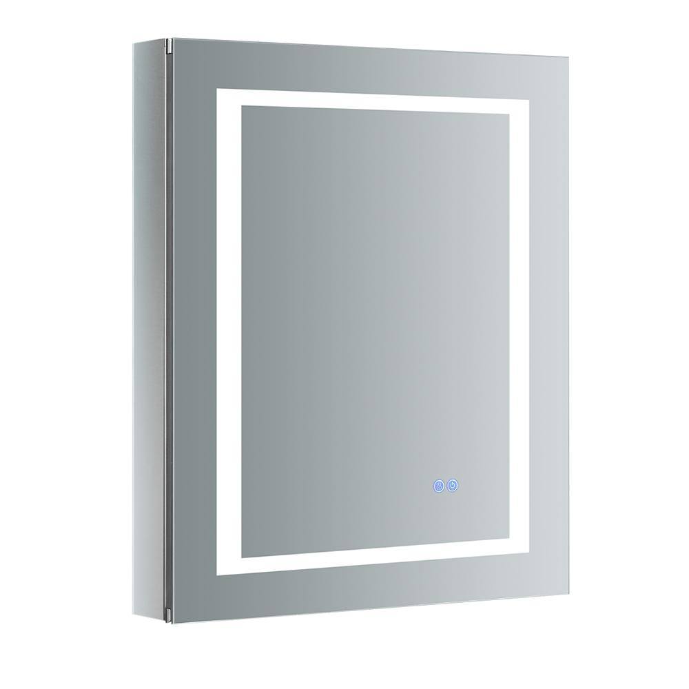 Fresca Spazio 24 in. W x 30 in. H Recessed or Surface Mount Medicine Cabinet with LED Lighting, Mirror Defogger and Left Hinge