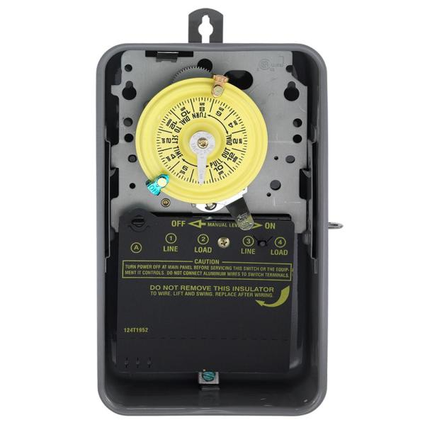 Intermatic T100 Series 40 Amp 24 Hour Outdoor Mechanical Timer With Double Pole Single Throw Switching 240 Vac Gray T104rd89 The Home Depot