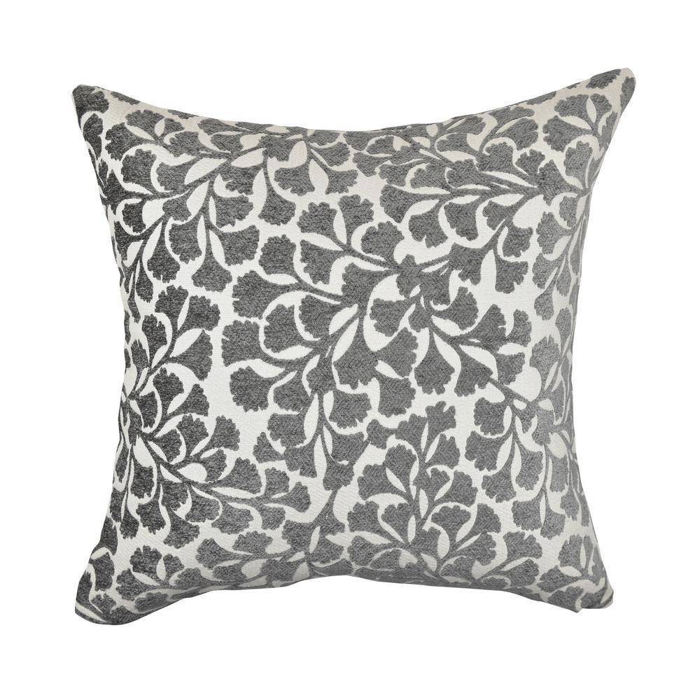 Gray Ginkgo Leaf Designer Throw Pillow