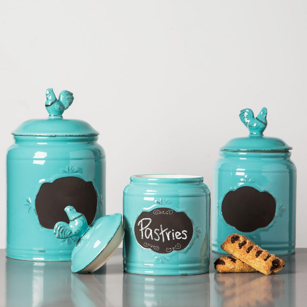 HOME ESSENTIALS & BEYOND Aqua Ceramic Chalkboard Canisters (Set of 3 ...