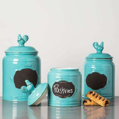 Aqua Ceramic Chalkboard Canisters (Set of 3)