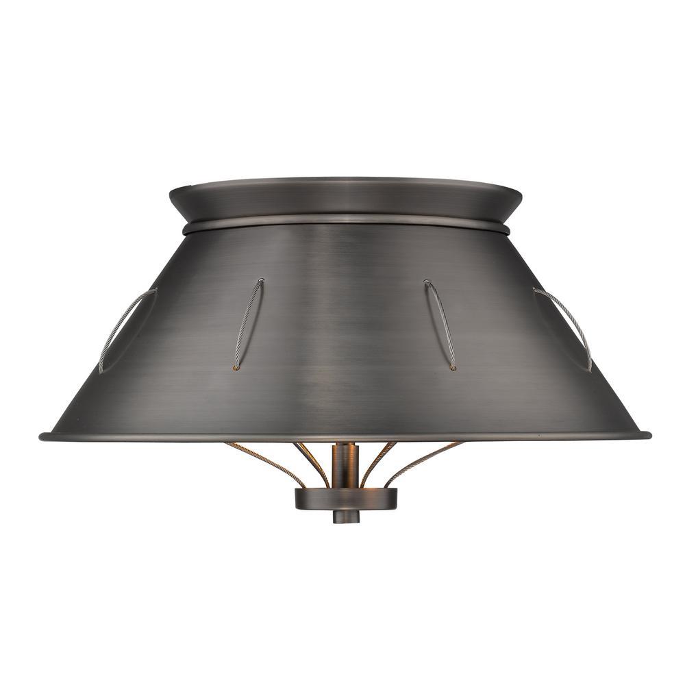Whitaker 2-Light Aged Steel Flush Mount