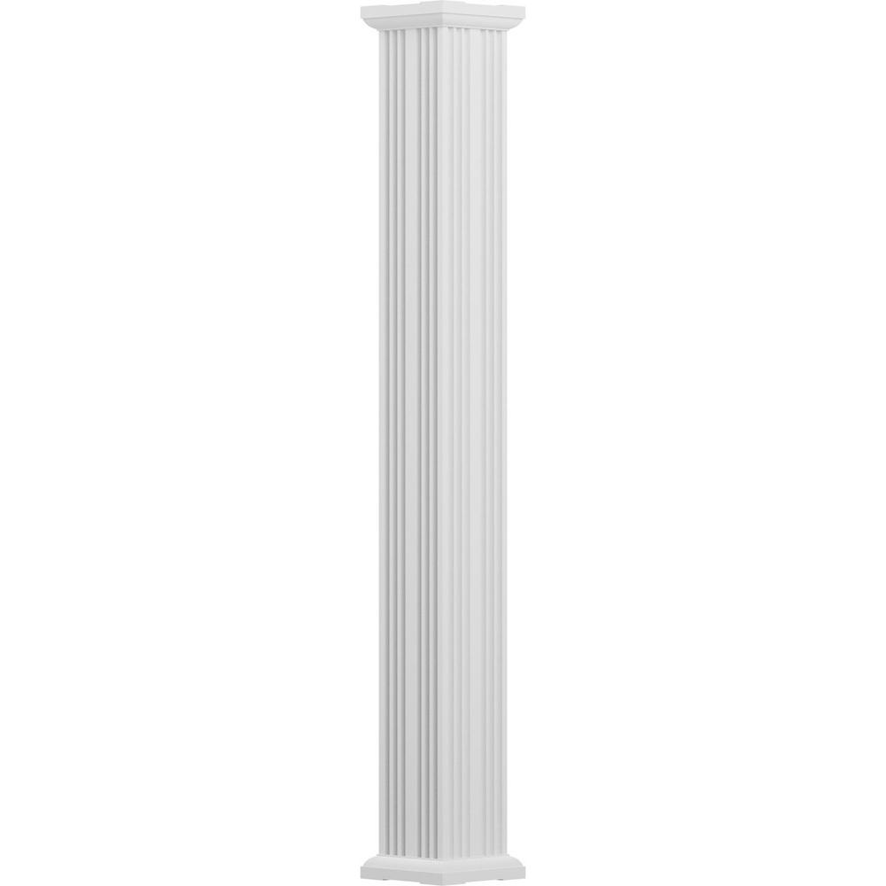 12 in. x 8 ft. Textured White Non-Tapered Fluted Square Shaft