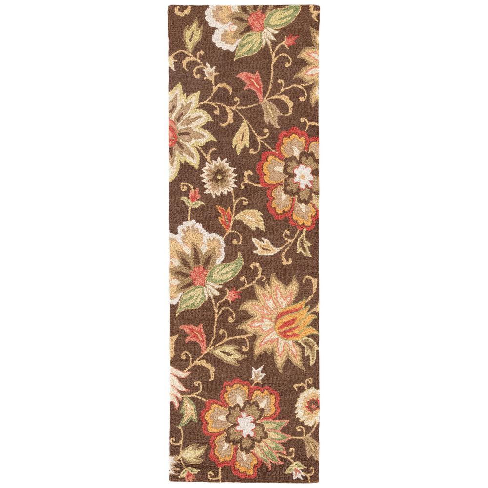 Brown 3 ft. x 8 ft. Floral Runner Rug