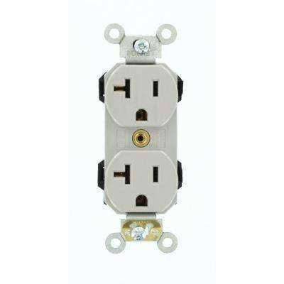 20 Amp Lev-Lok Modular Wiring Device Commercial Grade Self Grounding Duplex Outlet, Gray