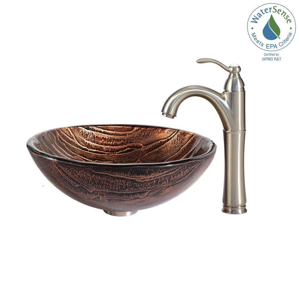Gaia Glass Vessel Sink in Brown with Riviera Faucet in Satin