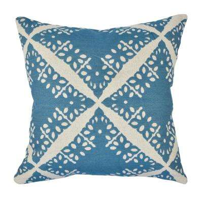 Pastel Blue Toile Jacquard Throw Pillow