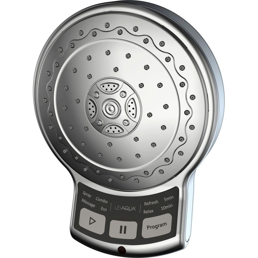 Levaqua OneTouch digital 9-Function 5 in. Showerhead in Brushed Nickel-DISCONTINUED