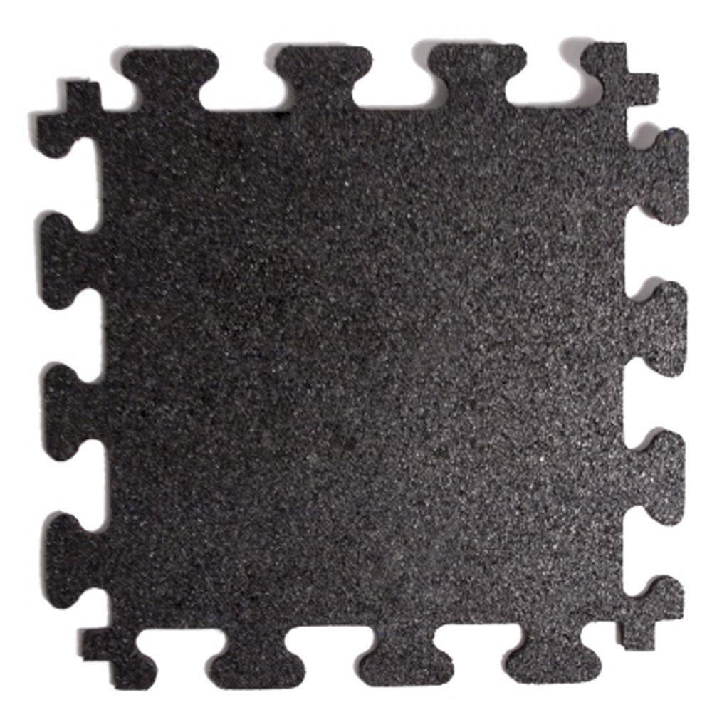 Fanmats Titan Tile Black 18 In X 18 In Rubber Tile Flooring 6 Pack Mm7010 The Home Depot