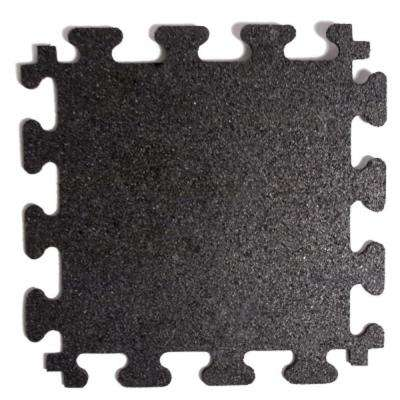 Titan Tile Black 18 in. x 18 in. Rubber Tile Flooring (6-Pack)