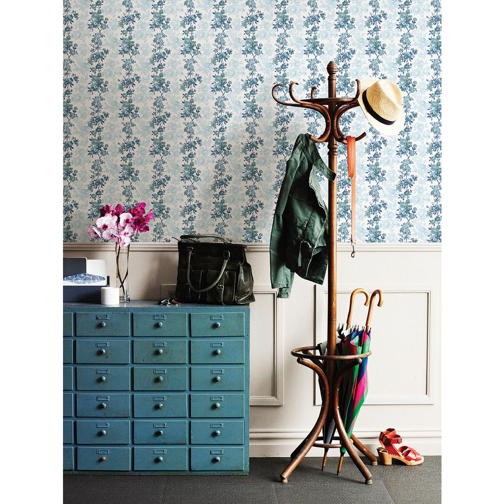 Charlise Blue Floral Stripe Wallpaper Sample