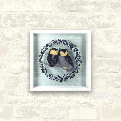 10 in. x 10 in. Owls on Branch 1-Piece Shadowbox with Glass Screen-Print