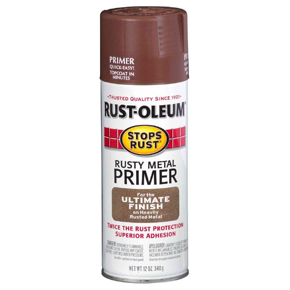 Rust Oleum Stops 12 Oz Flat Rusty Metal Primer Spray 6 Pack