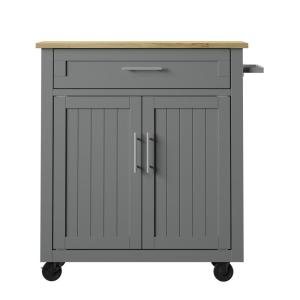 32 in. Pure Gray Kitchen Cart with Panel Doors and Drawer