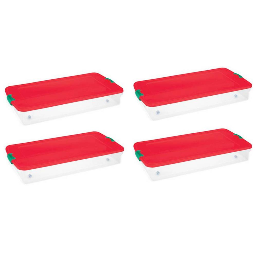 Plastic Under Bed Holiday Storage Box With Wheels, Clear/Red