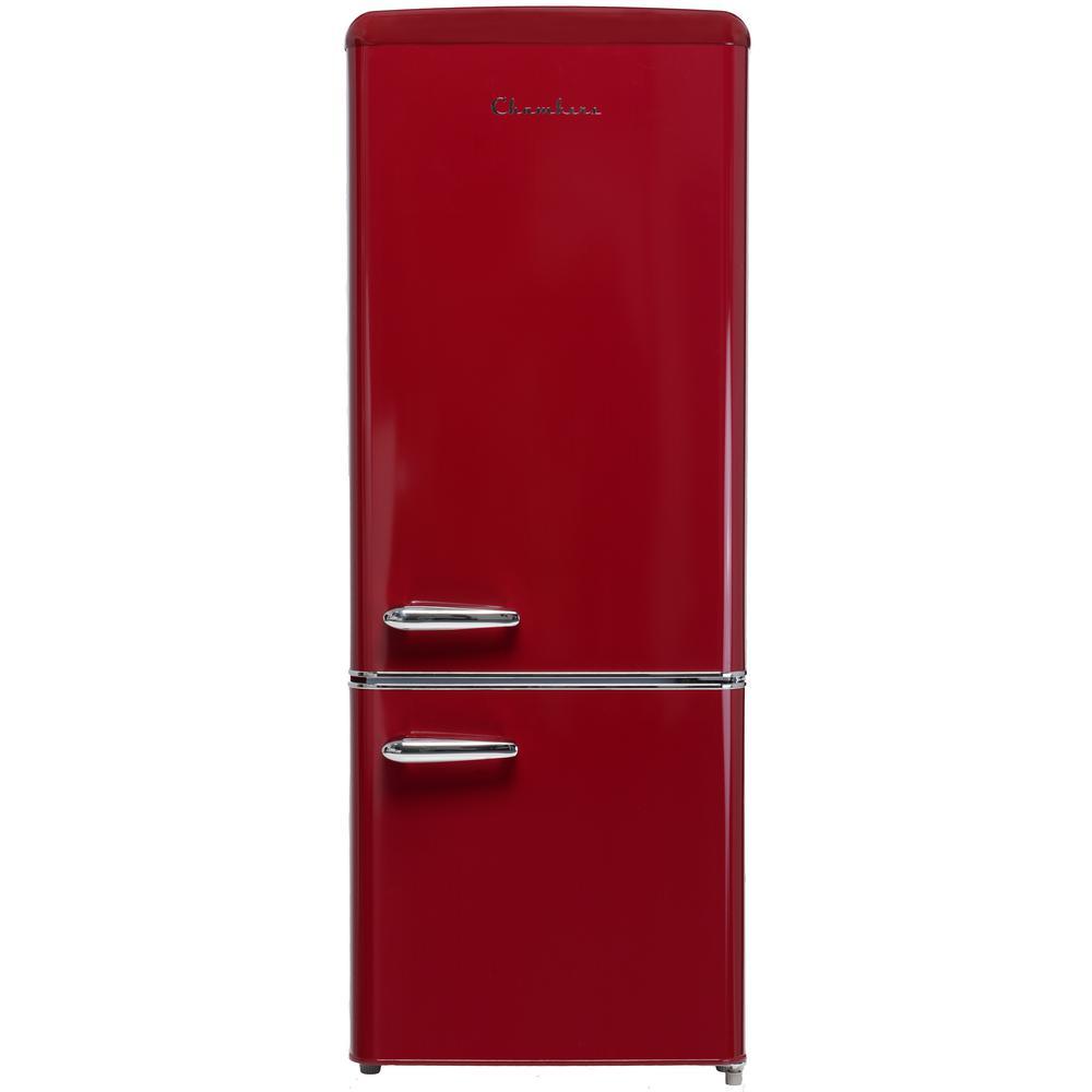 22 in. 7 cu. ft. Retro Bottom Freezer Refrigerator in Wine Red Counter Depth