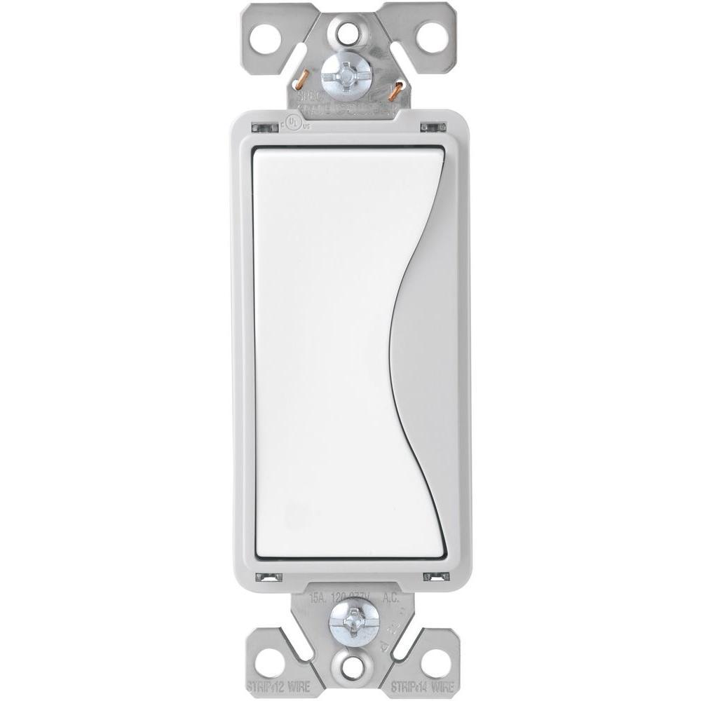 Aspire 15 Amp Back Wire/Push Wire 4-Way Switch, White Satin