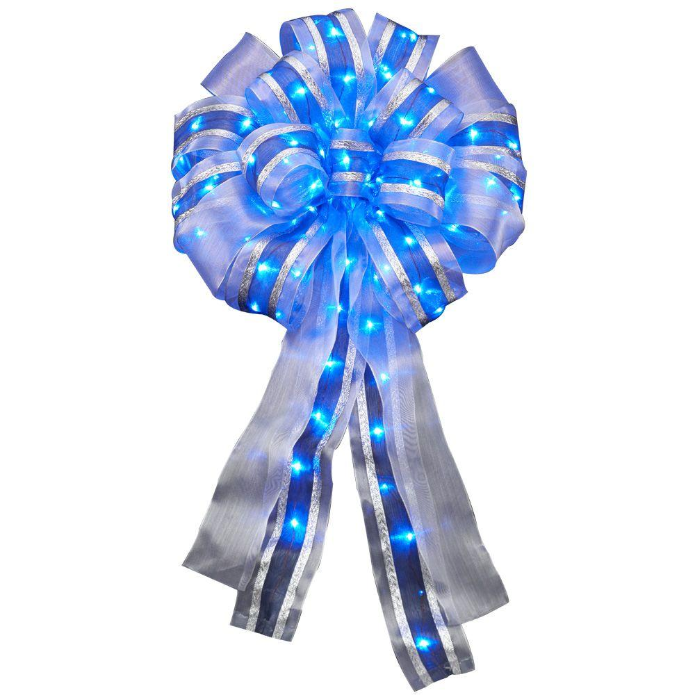 null 14 in. LED Lit Blue Ribbon Bow