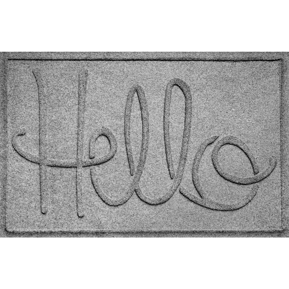 Simple Hello Medium Gray 24 in. x 36 in. Polypropylene Door Mat