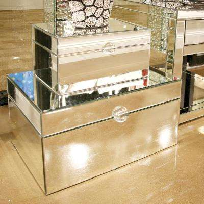 Large Clear Mirrored Decorative Box with Acrylic Handle