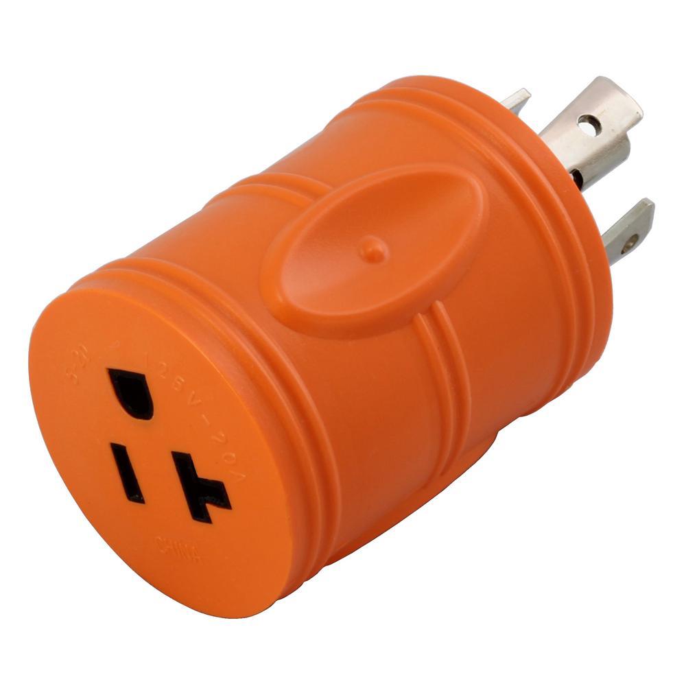 Locking Adapter NEMA L14-30P 30Amp 125/250Volt 4Prong Locking Plug to 5-15/20R Regular Household 15/20Amp T Blade Socket